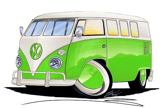 VW Splitty (11 Window) Lime Green by Richard Yeomans