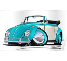 Volkswagen Beetle Cabriolet (2-Tone) Turquoise Poster