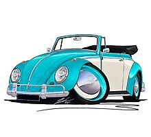 Volkswagen Beetle Cabriolet (2-Tone) Turquoise Photographic Print