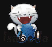 Isabella cute little white kitten girls shirt One Piece - Long Sleeve