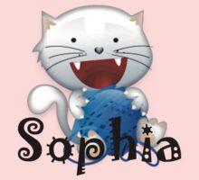 Sophia cute little white kitten girls shirt One Piece - Short Sleeve