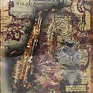 Steampunk Fashion Saxaphone Vintage Map Design by Melissa Park