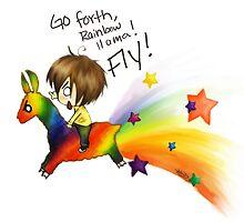 Rainbow llama by GodessFae