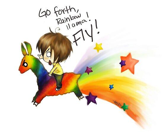 Quot Rainbow Llama Quot By Godessfae Redbubble