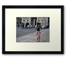 Child searching for her parents Framed Print