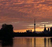 Reflecting on Fiery Skies - Toronto Skyline at Sunset Sticker