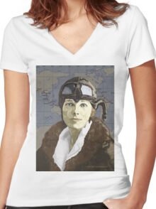 Amelia Earhart Women's Fitted V-Neck T-Shirt