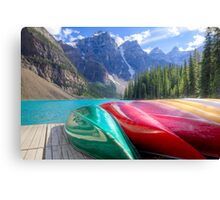 Kayaks on Moraine Lake Canvas Print