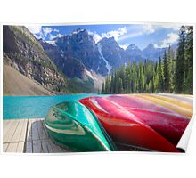 Kayaks on Moraine Lake Poster