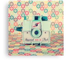 Film Mint Camera on a Colourful Retro Background  Canvas Print