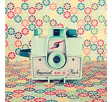 Film Mint Camera on a Colourful Retro Background  Photographic Print