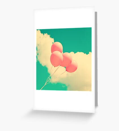 Happy Pink Balloons on retro blue sky  Greeting Card