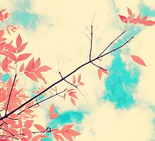 Pink fall leafs on retro vintage sky  by Andreka
