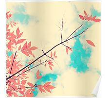 Pink fall leafs on retro vintage sky  Poster