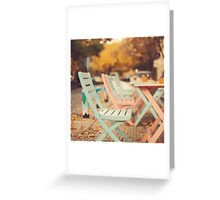 Dream Autumn (Pink and blue coffee shop chairs on retro and vintage fall) Greeting Card