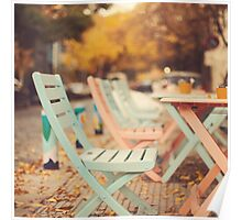 Dream Autumn (Pink and blue coffee shop chairs on retro and vintage fall) Poster