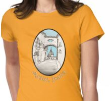 Assisi, Italy, an archway framing the view Womens Fitted T-Shirt
