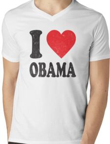 I Love Obama Retro Shirt Mens V-Neck T-Shirt