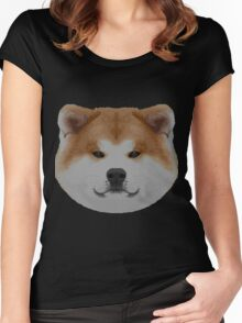 Knit Japanese Akita Face Women's Fitted Scoop T-Shirt