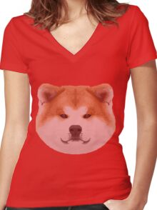 Knit Japanese Akita Face Women's Fitted V-Neck T-Shirt