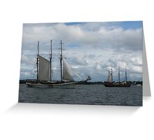 Tall Ships Sailing in the Harbor Greeting Card