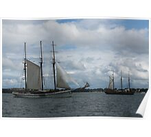 Tall Ships Sailing in the Harbor Poster