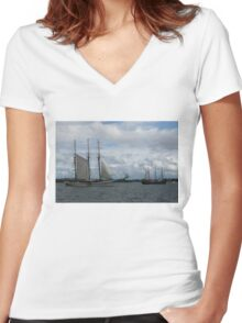 Tall Ships Sailing in the Harbor Women's Fitted V-Neck T-Shirt