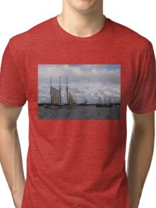 Tall Ships Sailing in the Harbor Tri-blend T-Shirt