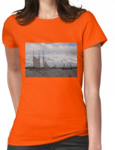 Tall Ships Sailing in the Harbor Womens Fitted T-Shirt