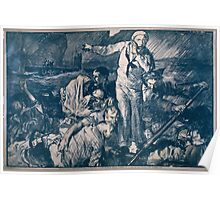 Sailors and others in a lifeboat as one sailor gestures to a submarine in the background 896 Poster