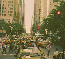 New York City Manhattan Street Taxi Cabs and Pedestrieans by buselikmakami