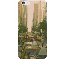 New York City Manhattan Street Taxi Cabs and Pedestrieans iPhone Case/Skin