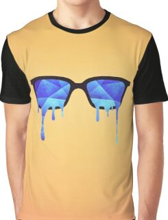 Abstract crystal ice blue triangle (low poly) / Hipster Nerd Glasses Graphic T-Shirt