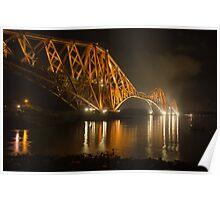 Forth Rail Bridge at night Poster