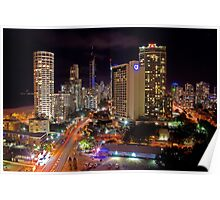 Surfers Paradise at Night Poster