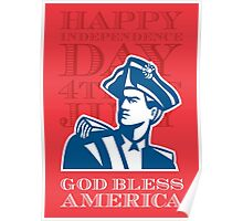 Independence Day Greeting Card-American Patriot Soldier Bust Poster
