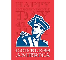 Independence Day Greeting Card-American Patriot Soldier Bust Photographic Print