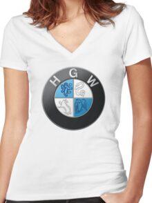 Harry Potter HGW HoGWarts (BMW logo) Women's Fitted V-Neck T-Shirt
