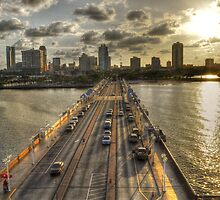 Saint Petersburg Florida bridge sunset by Timothy Lowry