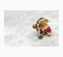 Christmas Vintage Teddy Bear in Snow Kids Clothes