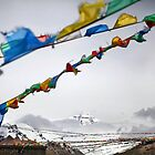 Mount Everest and Prayer flags at Base Camp in Tibet by ieatstars