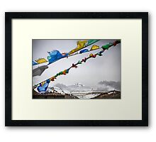 Mount Everest and Prayer flags at Base Camp in Tibet Framed Print