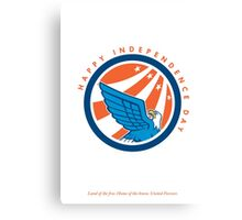 Independence Day Greeting Card-American Eagle Flying Looking Up Canvas Print