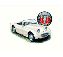 Austin Healey Bugeye Sprite in White Art Print