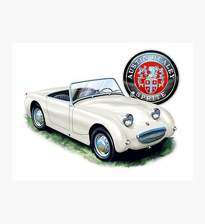 Austin Healey Bugeye Sprite in White Photographic Print