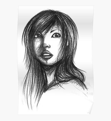 Beautiful Woman Artist Pencil Sketch 2 Poster