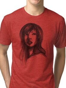 Beautiful Woman Artist Pencil Sketch 2 Tri-blend T-Shirt