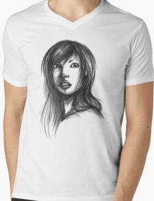 Beautiful Woman Artist Pencil Sketch 2 Mens V-Neck T-Shirt