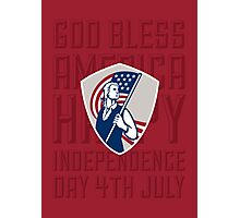 Independence Day Greeting Card-American Patriot Holding USA Flag Shield Photographic Print