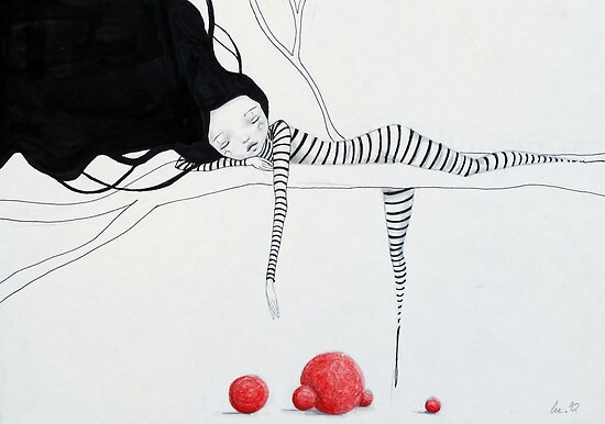 "Clown Girl & her Red Bubbles Balls ""Sleepy Head""  by minoule"